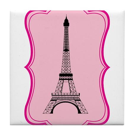 Eiffel Tower on Pink Flourish Tile Coaster
