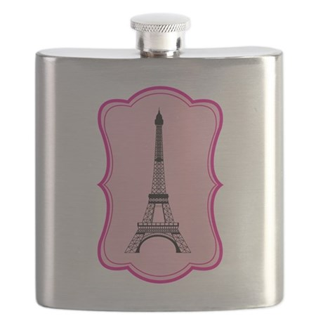 Eiffel Tower on Pink Flourish Flask
