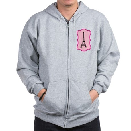 Eiffel Tower on Pink Flourish Zip Hoodie