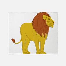 Cartoon Lion Throw Blanket