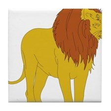 Cartoon Lion Tile Coaster