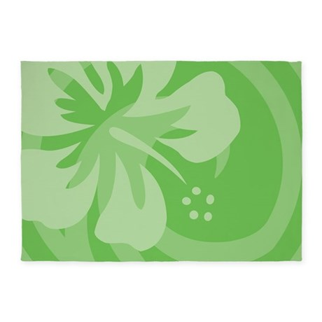 Hibiscus Green 5'x7'Area Rug
