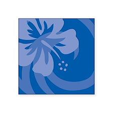 """Hibiscus Blue Square Sticker 3"""" x 3"""""""
