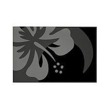Hibiscus Black Rectangle Magnet