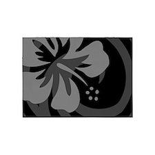 Hibiscus Black 5'x7'Area Rug