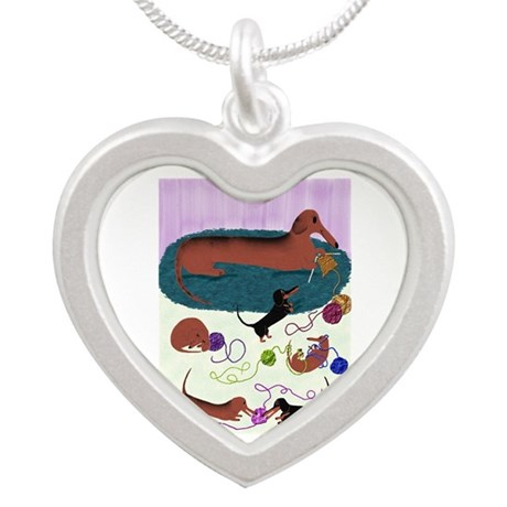 Knitting Dachshund Silver Heart Necklace
