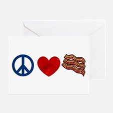Peace Love and Bacon Strips Greeting Card