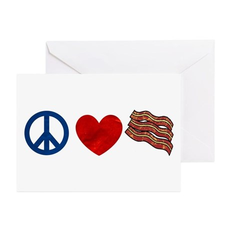 Peace Love and Bacon Strips Greeting Cards (Pk of