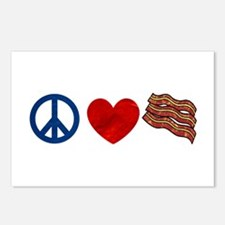 Peace Love and Bacon Strips Postcards (Package of