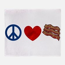 Peace Love and Bacon Strips Throw Blanket