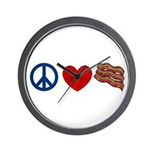 Peace Love and Bacon Strips Wall Clock