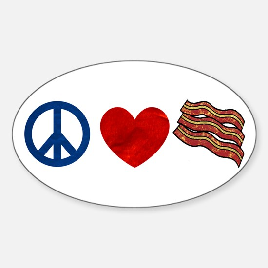 Peace Love and Bacon Strips Sticker (Oval)