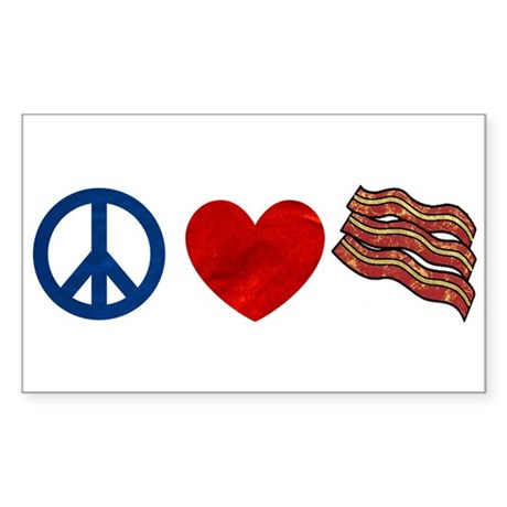 Peace Love and Bacon Strips Sticker (Rectangle)