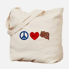 Peace Love and Bacon Strips Tote Bag