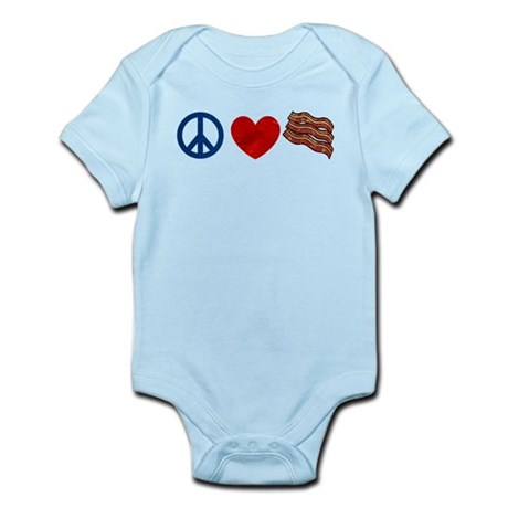 Peace Love and Bacon Strips Infant Bodysuit
