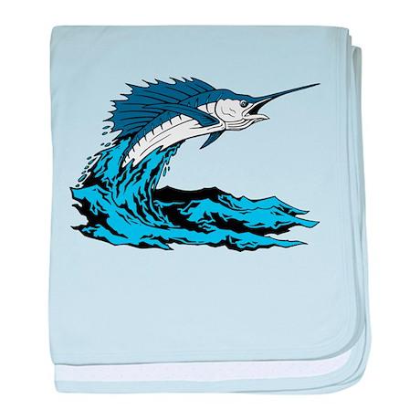 Swordfish Jump baby blanket