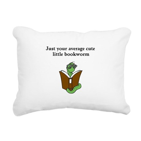 Cute Bookworm Rectangular Canvas Pillow