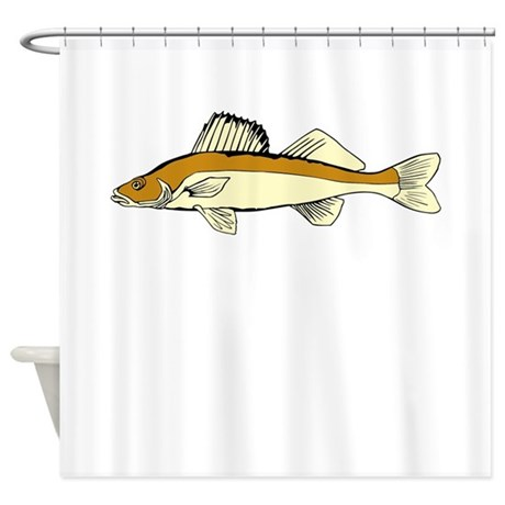 Brown And White Fish Shower Curtain By Kevsanimals