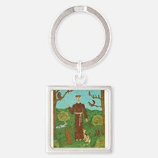 Saint Francis of Assisi Square Keychain
