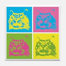 Kitty Warhol Tile Coaster