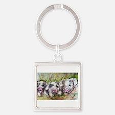 Piglets, Animal art! Square Keychain