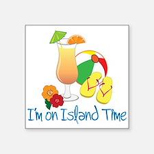 "Island Time Square Sticker 3"" x 3"""