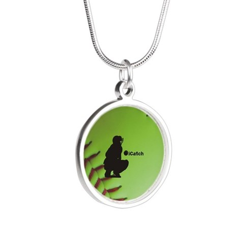 iCatch Fastpitch Softball Silver Round Necklace