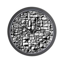Black and White Stone Wall Wall Clock