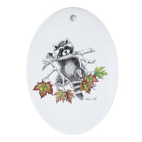 Raccoon Play Ornament (Oval)