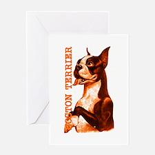 Vintage Boston Terrier Orange Wave Greeting Card
