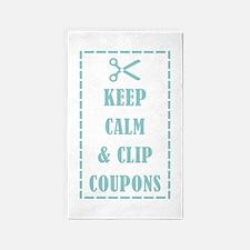 KEEP CALM & CLIP COUPONS 3'x5' Area Rug