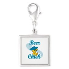 Beer Chick #3 Silver Square Charm