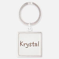 Krystal Coffee Beans Square Keychain