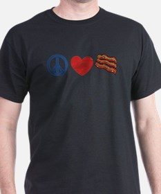 Peace Love and Bacon Strips T-Shirt