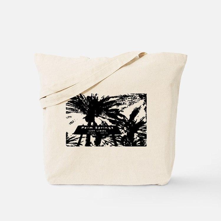 BlacknWhite Palm Springs sign Tote Bag
