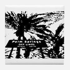 BlacknWhite Palm Springs sign Tile Coaster