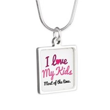 I Love My Kids Silver Square Necklace