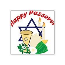 "Happy Passover Square Sticker 3"" x 3"""