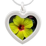 .yellow hibiscus. Silver Heart Necklace