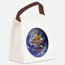 uu chalise on globe.png Canvas Lunch Bag