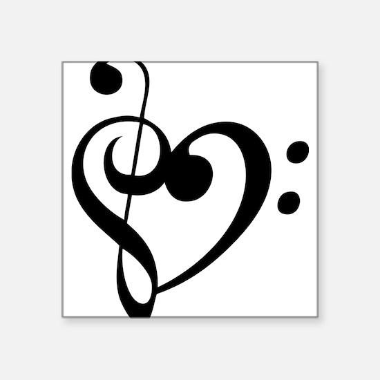 """Treble Heart Square Sticker 3"""" x 3"""""""