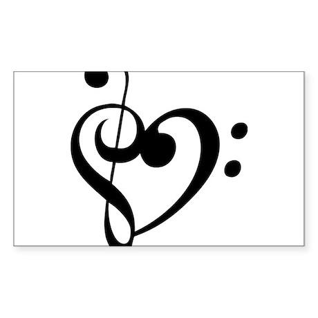 Treble Heart Sticker (Rectangle)