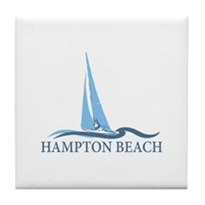 Hampton Beach NH - Sailboat Design. Tile Coaster