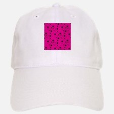 Black Stars on Hot Pink Background Baseball Baseball Cap