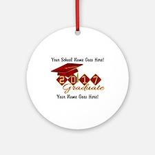 Graduate 2017 Red Gold Round Ornament