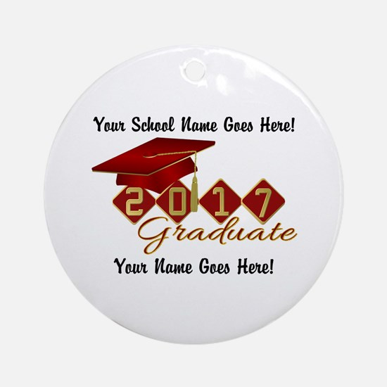 Graduate 2017 Red Gold Round Ornament
