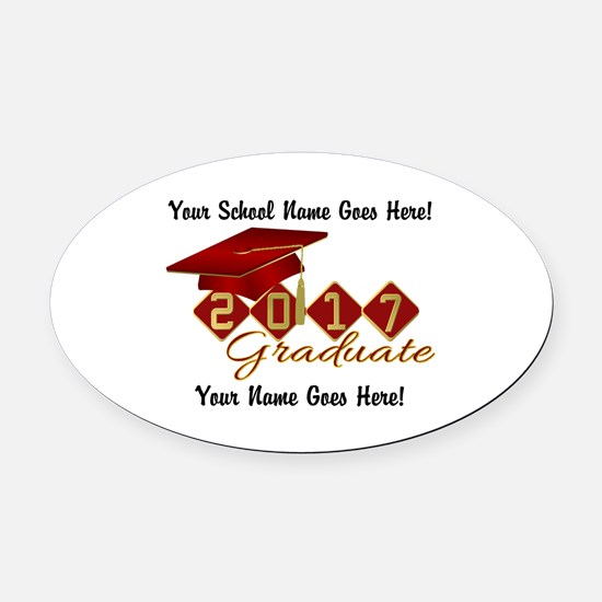 Graduate 2017 Red Gold Oval Car Magnet