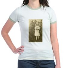 Real Photo Girl holding White Bunny Rabbit Old T