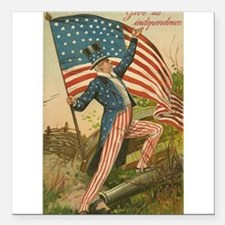 Patriotic Uncle Sam Fourth of July Holiday Flag Sq