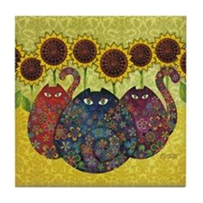 Cute Sunflower and cats Tile Coaster